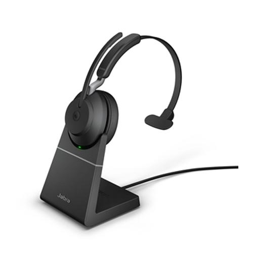 Jabra Evolve 2 65 Wireless Headset Link 380 Usb A Ms Mono Stand Black
