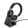 Jabra Evolve 2 65 Wireless Headset Link 380a MS Stereo Headset with Stand - Black