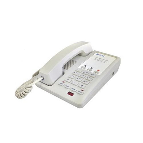 Bittel 12 Series 12S-3C Single-Line Corded Hospitality Speakerphone - Cream with 3 Guest Service Buttons
