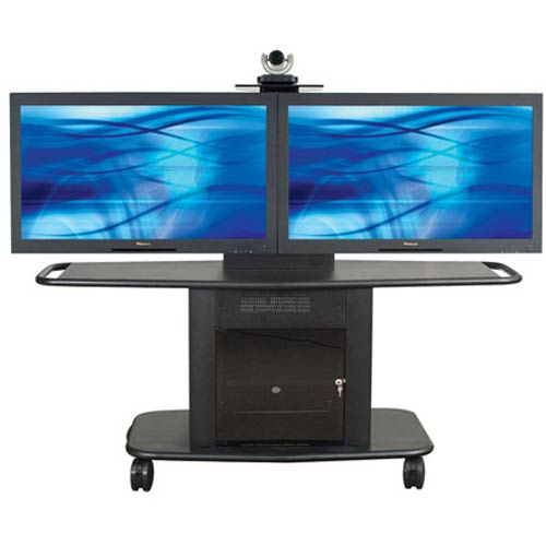 GMP-350L-TT2 - Avteq - Double Plasma/LCD Cart (Corporate Series) - plasma, lcd , shelf, stand