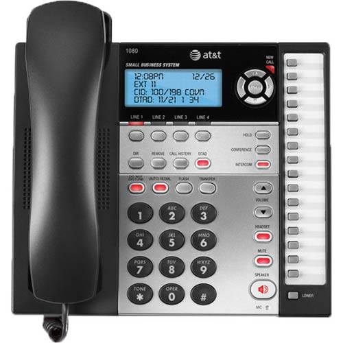 AT&T 1080 4-Line KSU-less Expandable Corded Phone System with Caller ID and Digital Answering System
