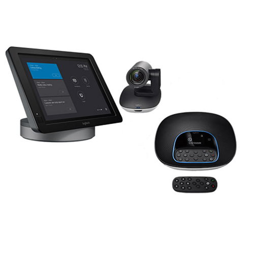 Medium Skype Room System - Logitech Skype Room System bundle for large meeting rooms with Logitech SmartDock, Microsoft Surface Pro 4, Skype Meeting app, Logitech Group, Logitech Group Expansion Mics and Logitech Extender Box. For meeting rooms with up to 16 participants.